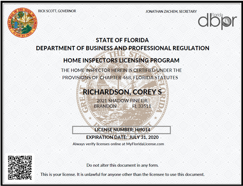 Florida Home Inspection License